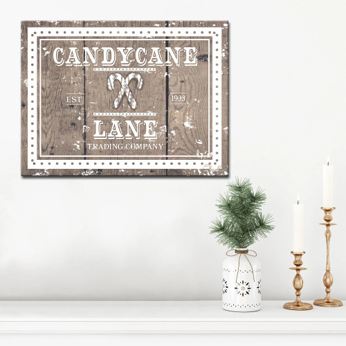 """Brown and White Christmas Candy Cane Lane Wrapped Rectangular Wall Art Decor 16"""" x 20"""" - IMAGE 1"""