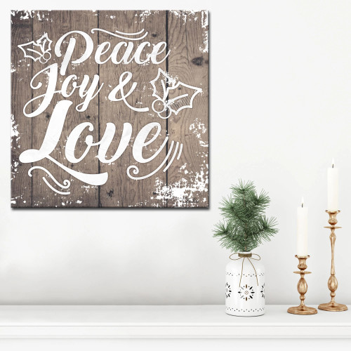 "Brown and White Christmas Peace Joy Love Wrapped Square Wall Art Decor 20"" x 20"" - IMAGE 1"