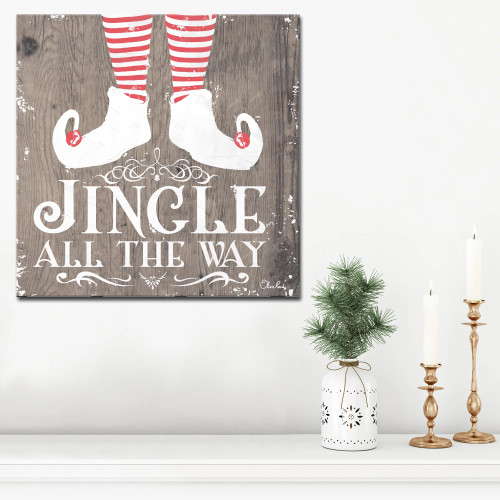 """Brown and Red Christmas Jingle Wrapped Square Wall Art Decor 20"""" x 20"""" - IMAGE 1"""