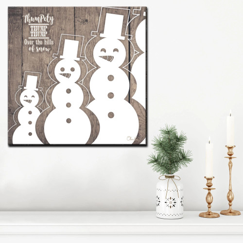 """Brown and White Christmas Snowman Wrapped Square Wall Art Decor 12"""" x 12"""" - IMAGE 1"""