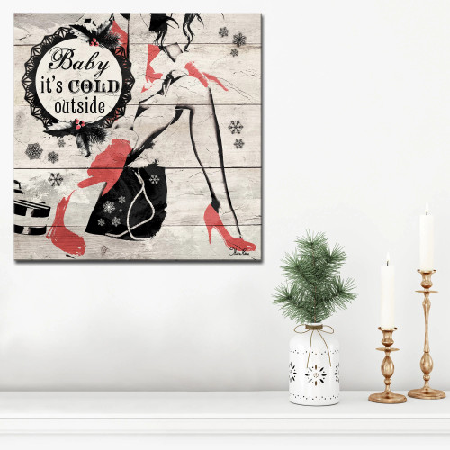 """Beige and Red Christmas Cold Out Wrapped Square Wall Art Decor 12"""" x 12"""" - IMAGE 1"""