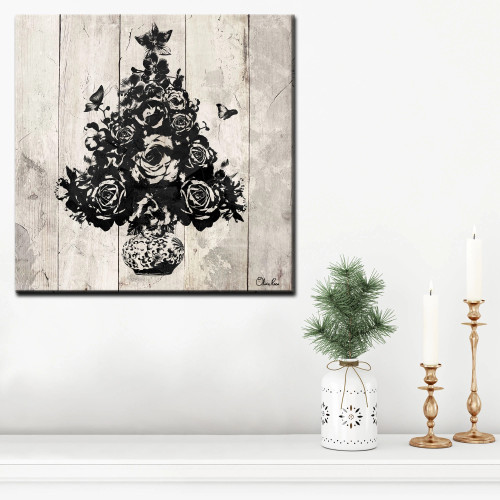 """Beige and Black Floral Christmas Tree Wrapped Square Wall Art Decor 20"""" x 20"""" - IMAGE 1"""