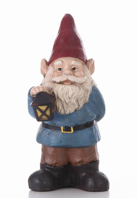 """18.25"""" Red and Blue Bobblehead Gnome Holding Lantern Outdoor Garden Statue - IMAGE 1"""