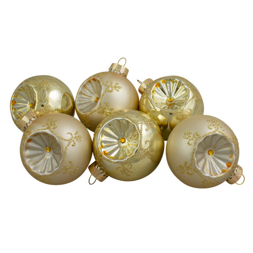 "6ct Gold 2-Finish Retro Reflector Glass Christmas Ball Ornaments 2.75"" (70mm) - IMAGE 1"