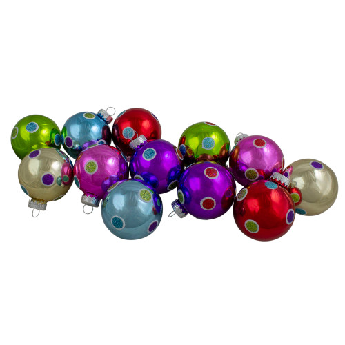 "12ct Vibrantly Colored Shiny Glitter Polka-Dots Glass Christmas Ball Ornaments 2.5"" (63mm) - IMAGE 1"