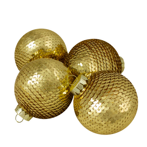 "4ct Gold Sequin Shiny Christmas Ball Ornaments 2.75"" (70mm) - IMAGE 1"