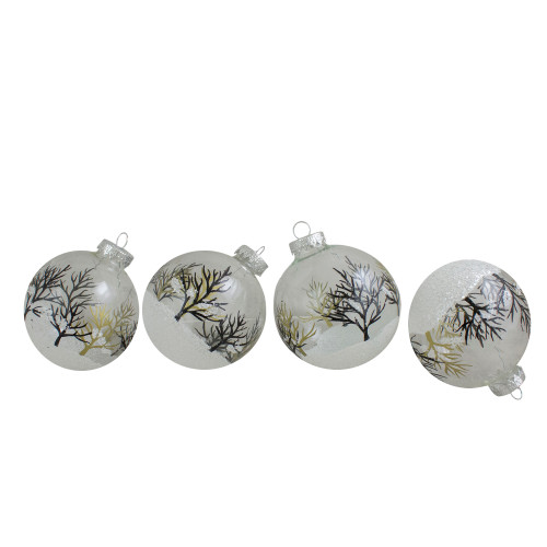 "4ct Clear and Frosted Winter Tree Glass Christmas Ball Ornaments 3.25"" (80mm) - IMAGE 1"