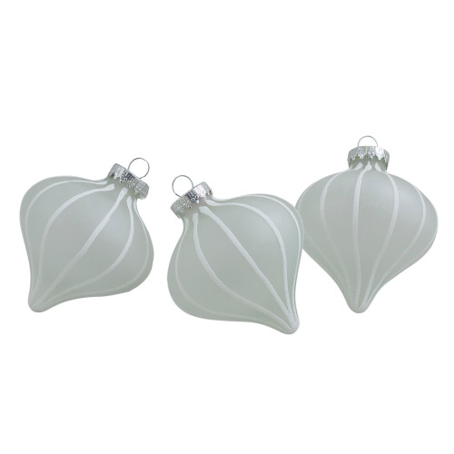 """3ct Clear and White Matte Frosted Glitter Stripes Glass Christmas Onion Drop Ornaments 3.25"""" (75mm) - IMAGE 1"""