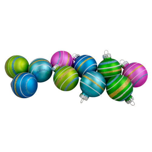 """10ct Green and Blue Matte Glass Christmas Ball Ornaments 1.75"""" (45mm) - IMAGE 1"""