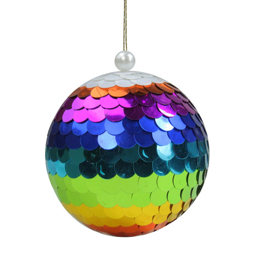 """Vibrantly Colored Shiny Sequin Rainbow Hanging Christmas Ball Ornament 4.75"""" (120mm) - IMAGE 1"""