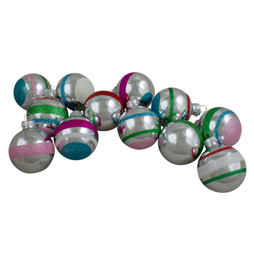 "12ct Silver and Pink Shatterproof 2-Finish Christmas Ball Ornaments 2.25"" (55mm) - IMAGE 1"