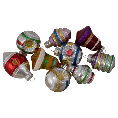 "9ct Silver and Gold Glass 2-Finish Glittered Christmas Ornaments 2.5"" - IMAGE 1"