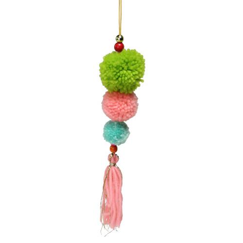 "10.25"" Green and Pink Pom Pom Christmas Ornament - IMAGE 1"