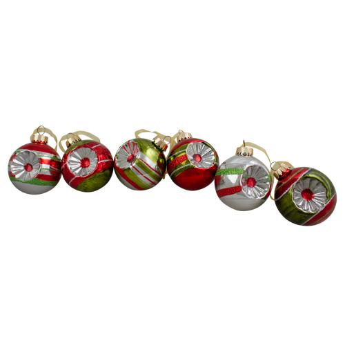 "6ct Silver and Red 2-Finish Retro Reflector Christmas Ball Ornaments 2.75"" (55mm) - IMAGE 1"