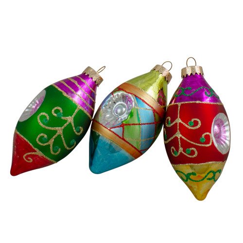"3ct Multi Color with Retro Reflectors Glass Finial Christmas Ornament Set 4.25"" (100mm) - IMAGE 1"