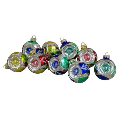 "9ct Vibrantly Colored Retro Reflector Shiny Glass Christmas Ball Ornaments 2.25"" (55mm) - IMAGE 1"