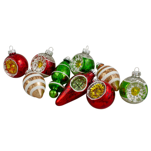 "9ct Silver and Red Retro Reflector Glittered 2-Finish Glass Christmas Ornaments 3.5"" - IMAGE 1"