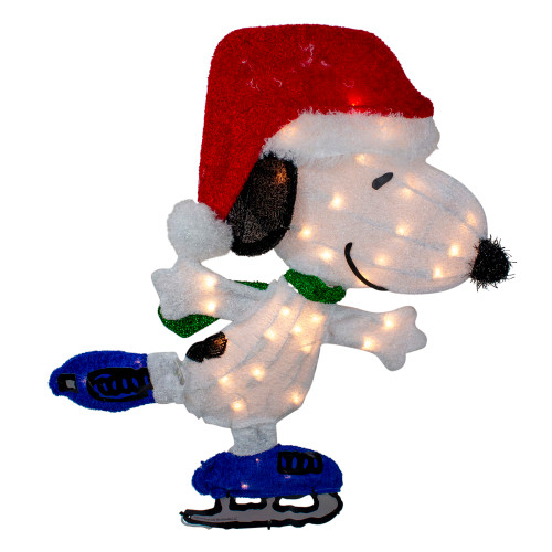 """24"""" White and Red Pre-Lit Skating Peanuts Snoopy Outdoor Christmas Decor - Clear Lights - IMAGE 1"""