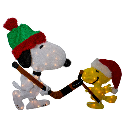 "28"" White and Yellow Pre-Lit Peanuts Snoopy and Woodstock Christmas Decor - Clear Lights - IMAGE 1"