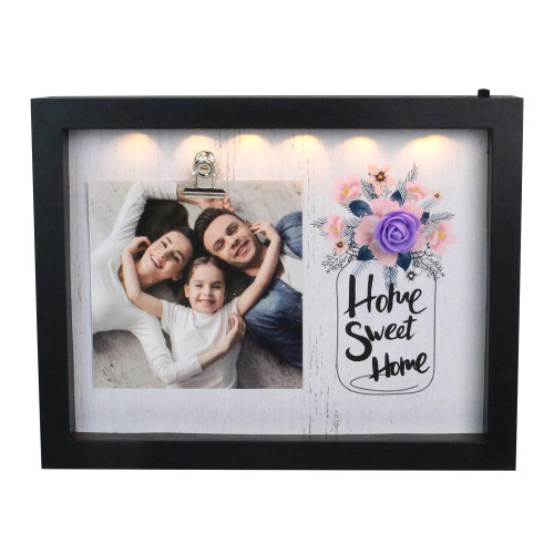 """LED Lighted Home Sweet Home Picture Frame with Clip - 4"""" x 4"""" - IMAGE 1"""