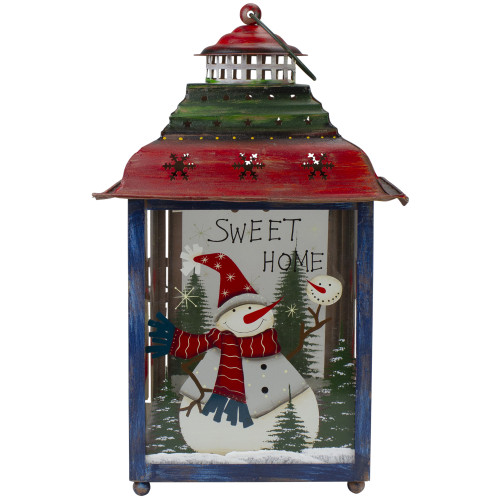"""Red, Green and Blue Snowman Christmas Candle Lantern 15"""" - IMAGE 1"""