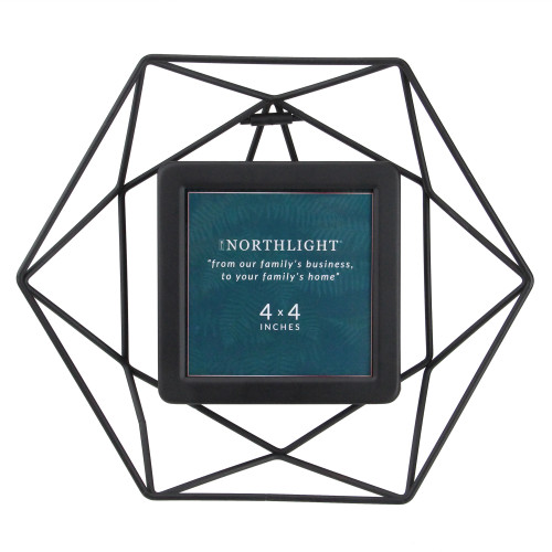"""8"""" Contemporary Hexagonal 4"""" x 4"""" Photo Picture Frame - Black - IMAGE 1"""