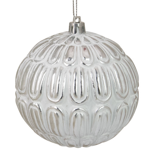 "Distressed White and Silver Geometric Christmas Ball Ornament 4"" (100mm) - IMAGE 1"