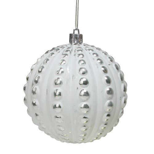 """Matte White and Silver Distressed Beveled Beads Christmas Ball Ornament 3.75"""" (95mm) - IMAGE 1"""