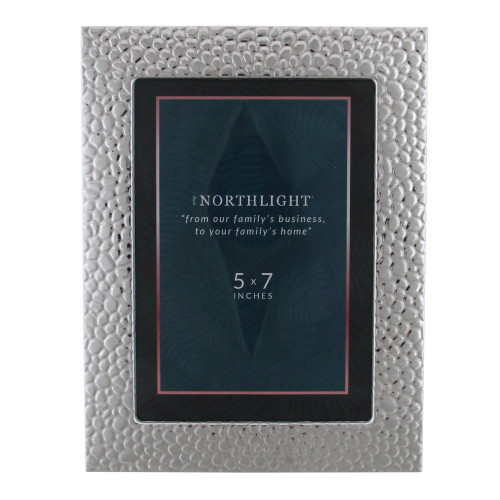 """8.5"""" Hammer Textured Rectangular 5"""" x 7"""" Photo Picture Frame - Silver - IMAGE 1"""