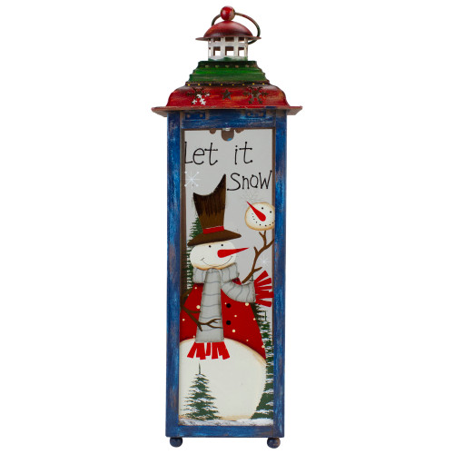 """Red, White and Green """"Snow"""" Christmas Lantern 15"""" - IMAGE 1"""