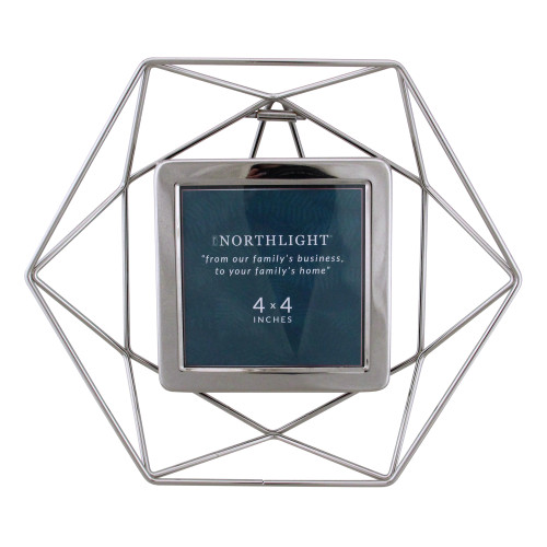 "9.5"" Contemporary Hexagonal 4"" x 4"" Photo Picture Frame - Silver - IMAGE 1"