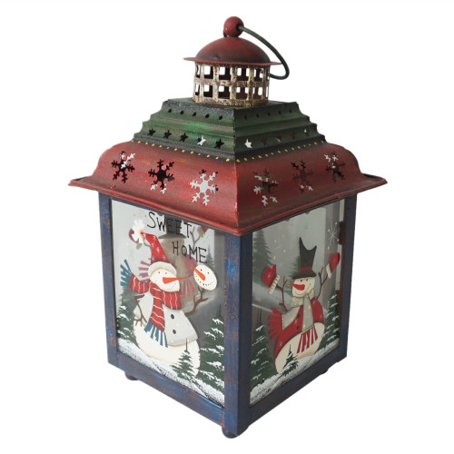 "Green, Red and Blue Snowman Christmas Candle Lantern 11"" - IMAGE 1"