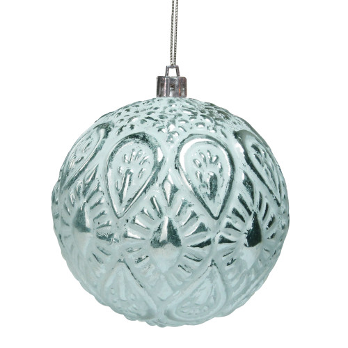"""Matte White and Silver Distressed Christmas Ball Ornament 3.5"""" (90mm) - IMAGE 1"""