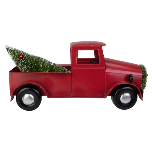 """13.25"""" Red Iron Truck with Green Frosted Tree and Wreath Christmas Tabletop Decoration - IMAGE 1"""