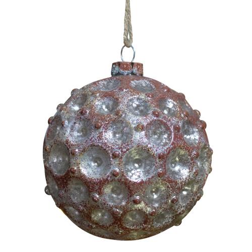 "Mercury Silver Distressed Glass Christmas Ball Ornament 3.5"" (88mm) - IMAGE 1"