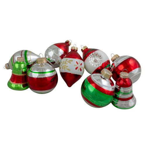 "9ct Silver and Red Striped 2-Finish Glass Christmas Ornaments 3.25"" - IMAGE 1"