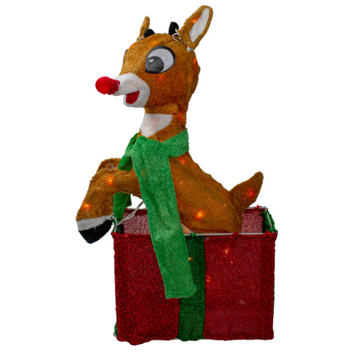 """24"""" Pre-Lit Rudolph the Red Nosed Reindeer Gift Box Christmas Outdoor Decor - Clear Lights - IMAGE 1"""