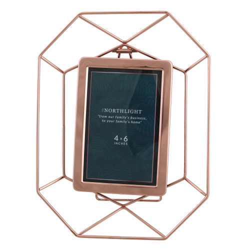 """11"""" Contemporary Hexagonal 4"""" x 6"""" Photo Picture Frame - Rose Gold - IMAGE 1"""