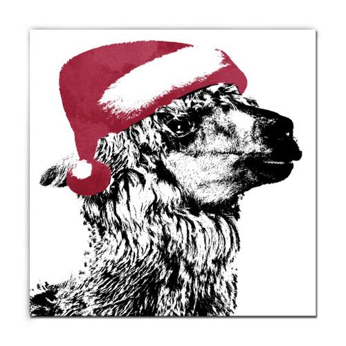 "Black and Red Alpaca Santa Christmas Wrapped Square Wall Art Decor 10"" x 10"" - IMAGE 1"