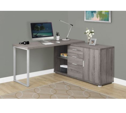 "57"" Taupe Brown and Gray Contemporary L-Shaped Computer Desk - IMAGE 1"