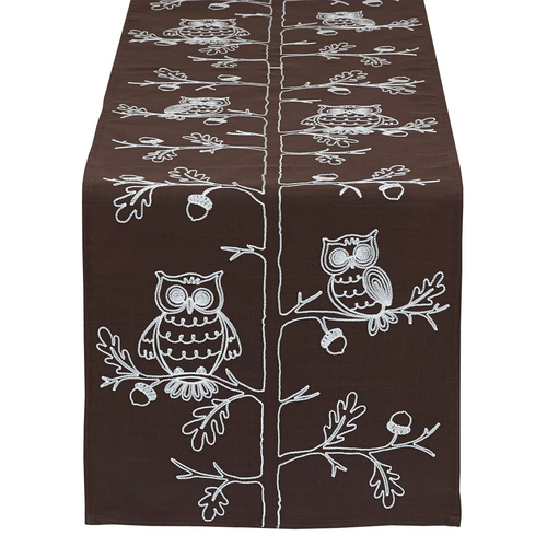 """70"""" Brown and White Embroidered Owls Rectangular Table Runner - IMAGE 1"""