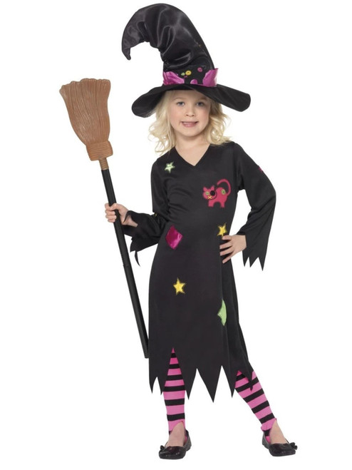 """49"""" Black and Pink Cinder Witch Toddler Halloween Costume - IMAGE 1"""