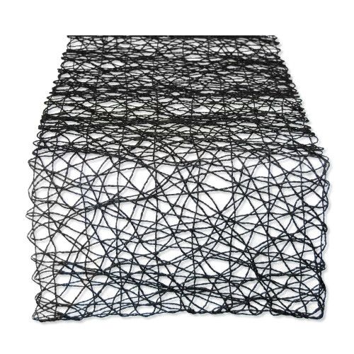 "72"" Night Black Woven Rectangular Table Runner - IMAGE 1"