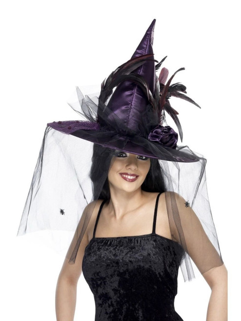 """51"""" Purple Halloween Witch Women Adult Halloween Hat with Feathers Costume Accessory - One Size - IMAGE 1"""