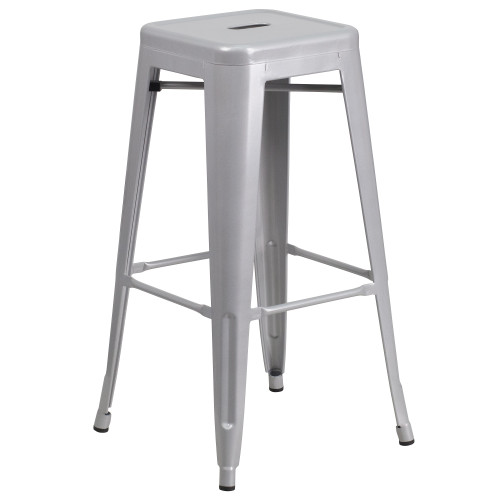 """30"""" Silver Contemporary Backless Industrial Outdoor Patio Barstool with Square Seat - IMAGE 1"""