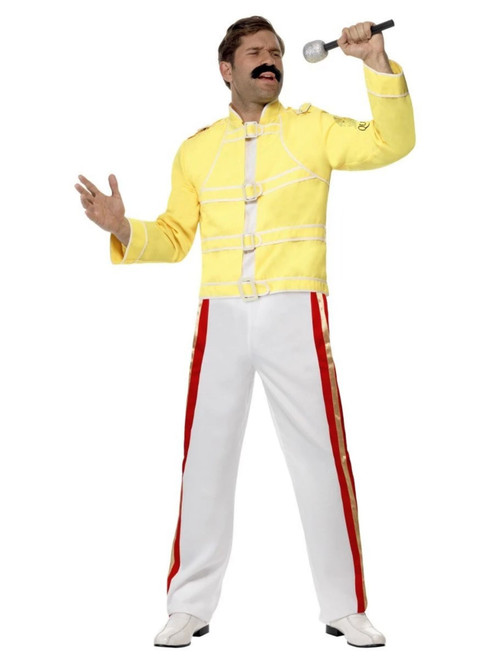"41"" Yellow and White Queen Freddie Mercury Party Men Adult Halloween Costume - Medium - IMAGE 1"