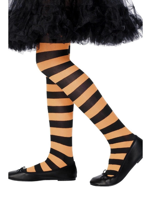 "18"" Orange and Black Striped Girl Child Halloween Tight Costume Accessory - Large - IMAGE 1"