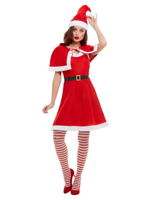 Red and White Miss Santa Women Adult Christmas Costume - Large - IMAGE 1