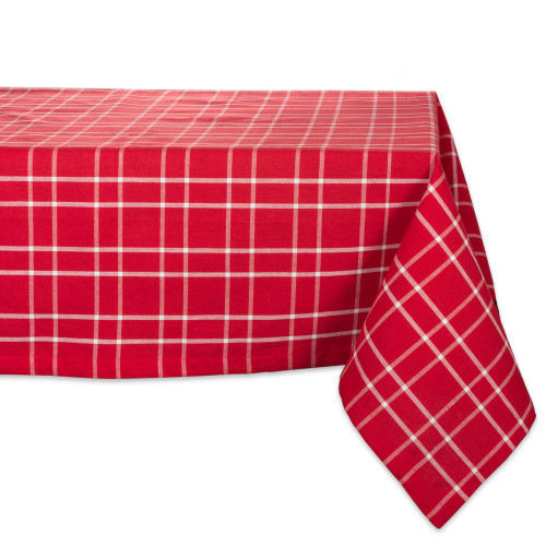 """104"""" Red and White Plaid Rectangular Outdoor Tablecloth - IMAGE 1"""
