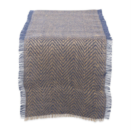 "72"" Blue and Brown Chevron Printed Rectangular Table Runner - IMAGE 1"